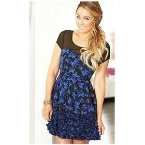 Lauren Conrad blue bow ruffle dress 6
